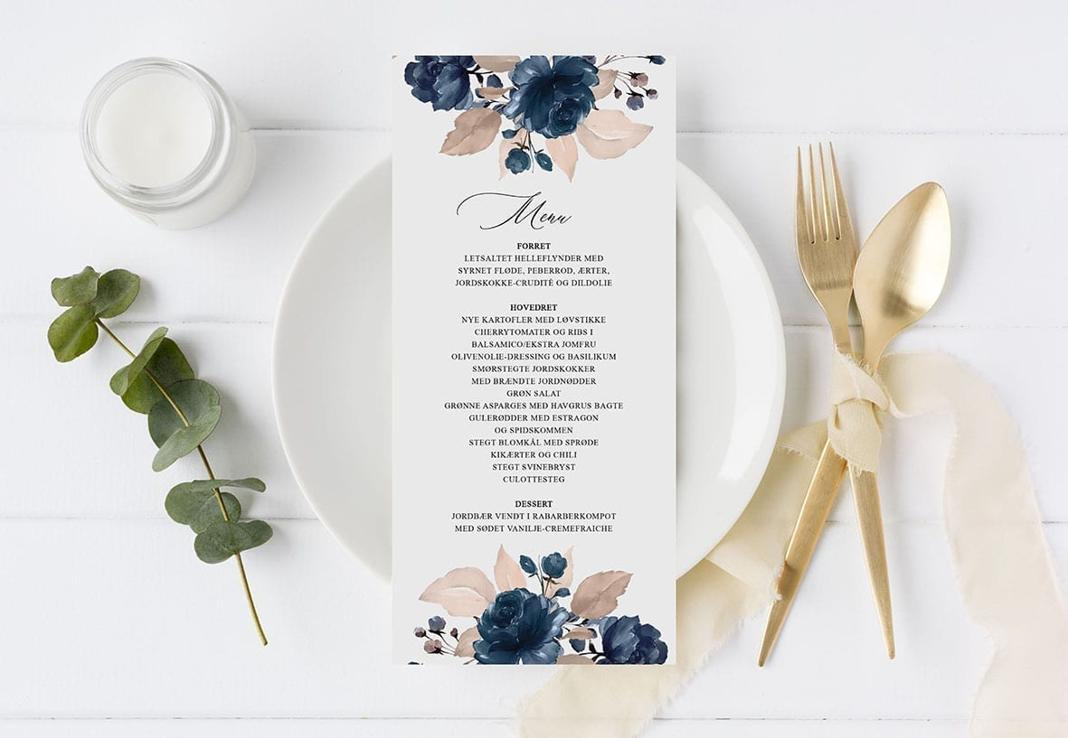 menukort borddækning Navy Bloom