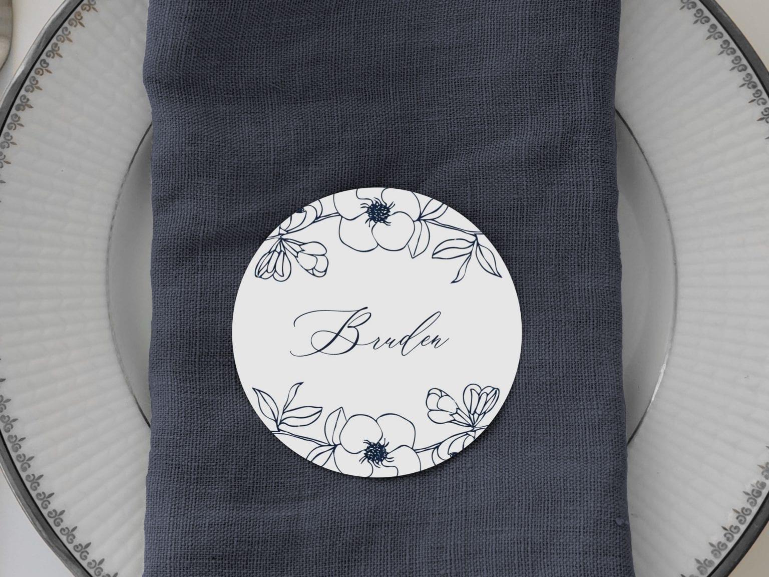 Nebula, runde bordkort, bryllup
