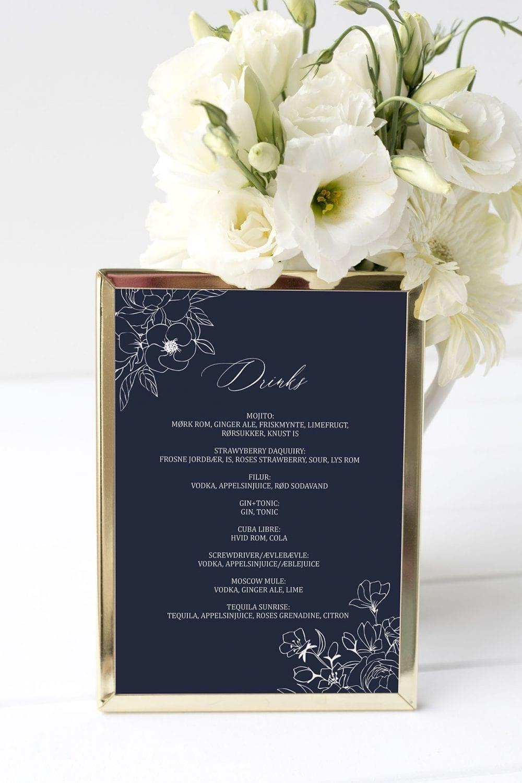 drinkskort, ramme, nebula, bryllup