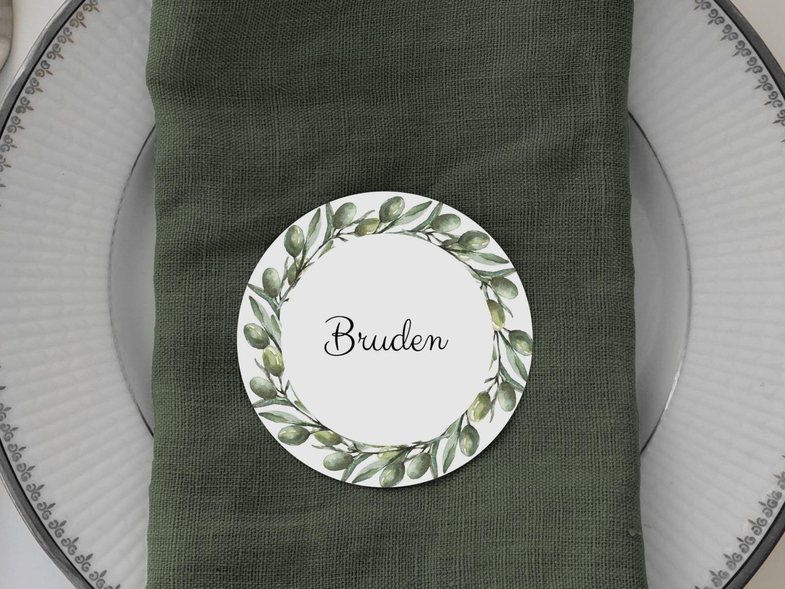Olive Garden, runde bordkort, bryllup