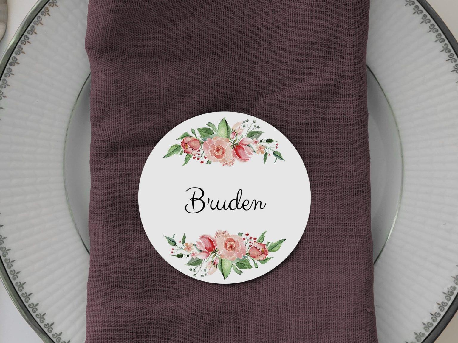 Pale Rose, runde bordkort, bryllup
