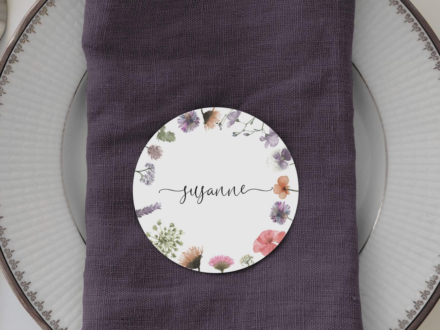 Pressed Flowers, runde bordkort, bryllup