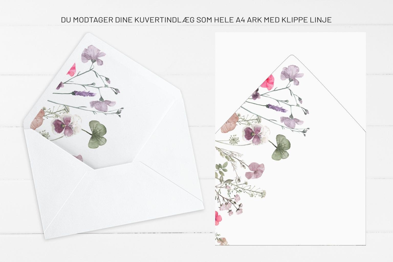 Pressed Flowers, kuvertindlæg, bryllup