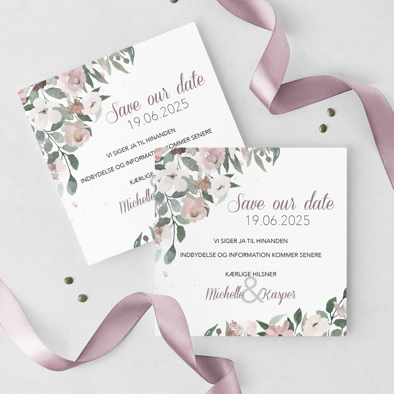 Blush Blossom, save the date, bryllup