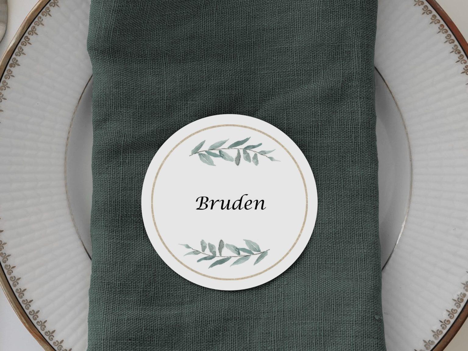 Simple Branch, runde bordkort, bryllup