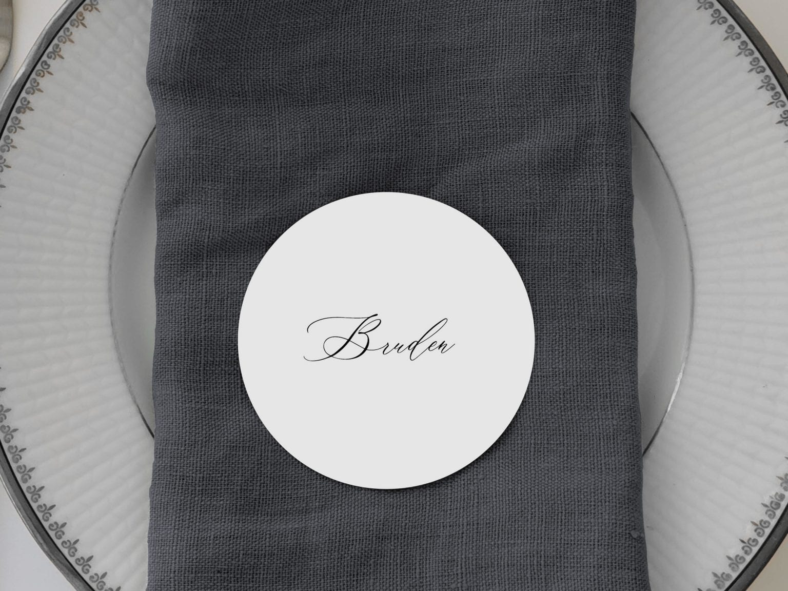 Simple Kali, runde bordkort, bryllup