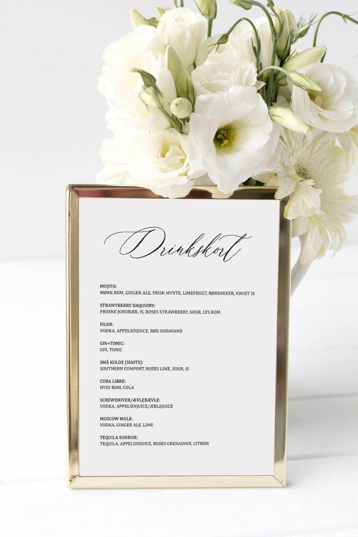 drinkskort, ramme, simple kali, bryllup