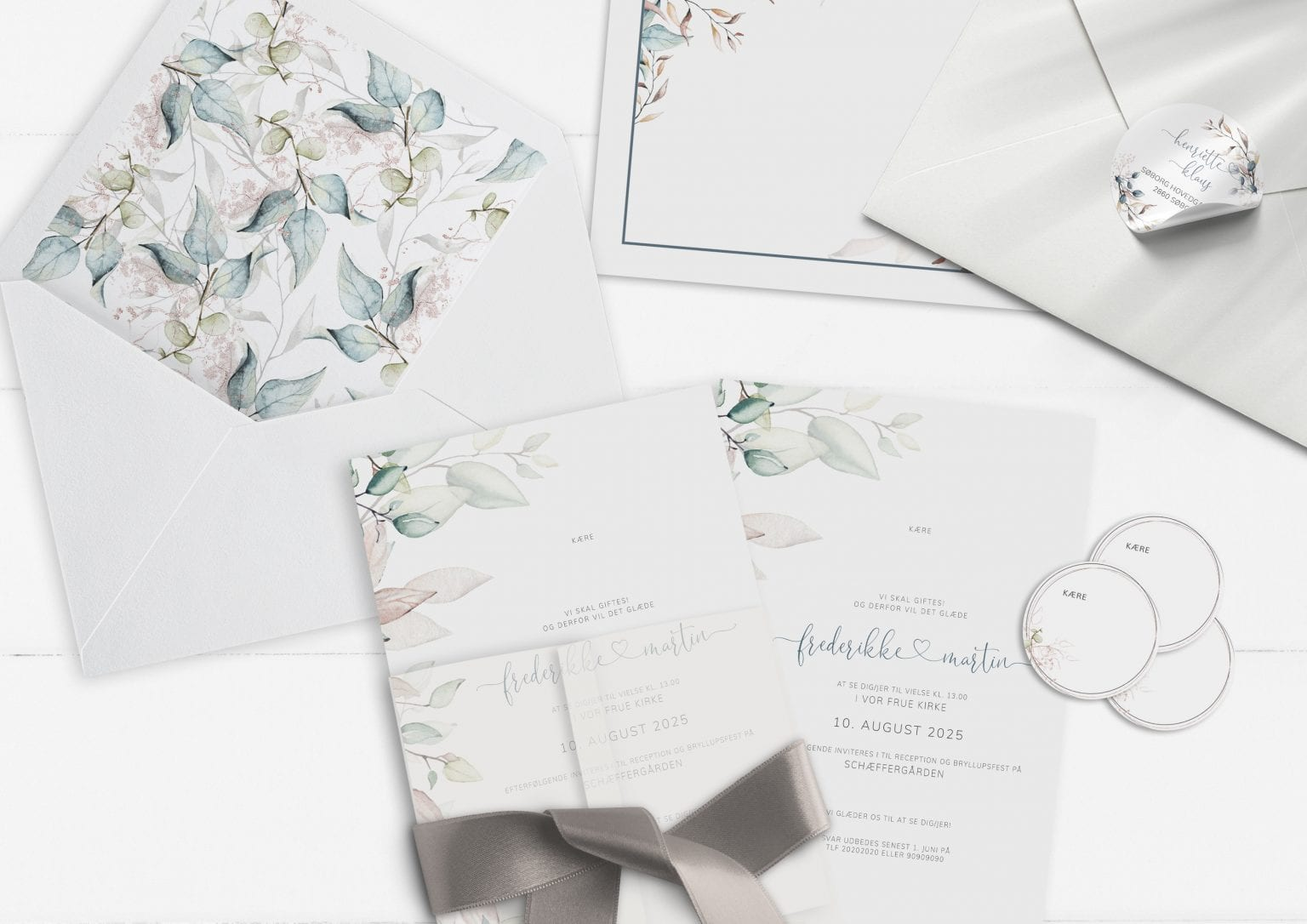 Soft Sage, invitation, bryllup