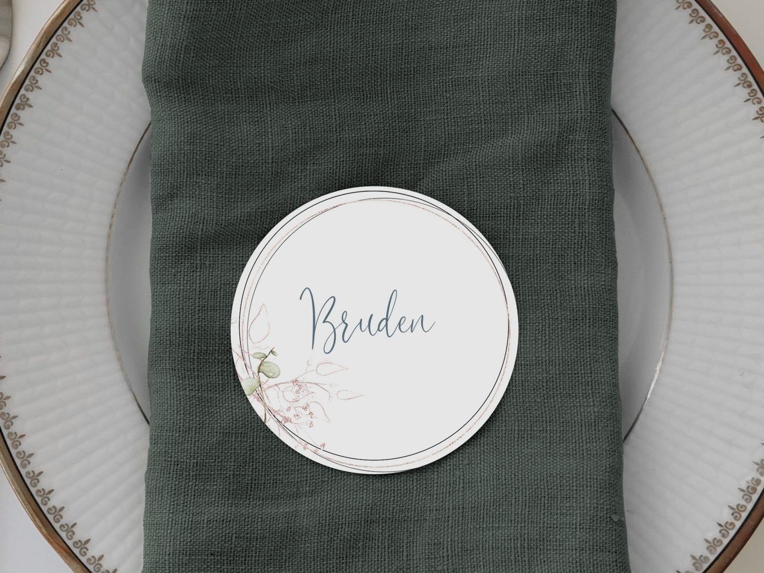 Soft Sage, runde bordkort, bryllup