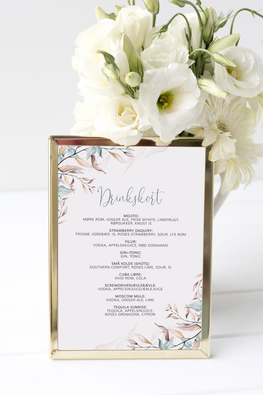 Soft Sage, drinkskort, bryllup