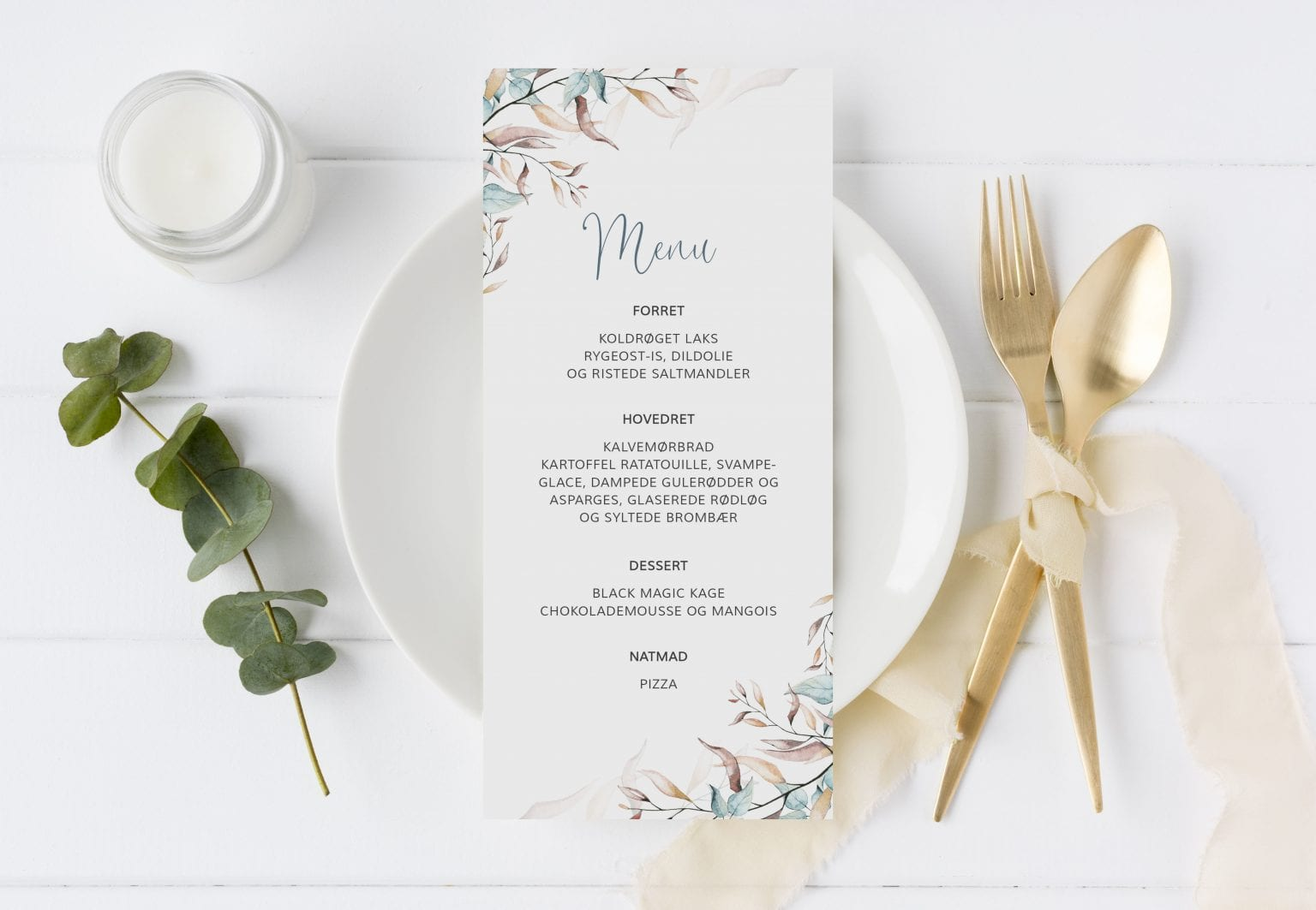 Soft Sage, menukort, bryllup