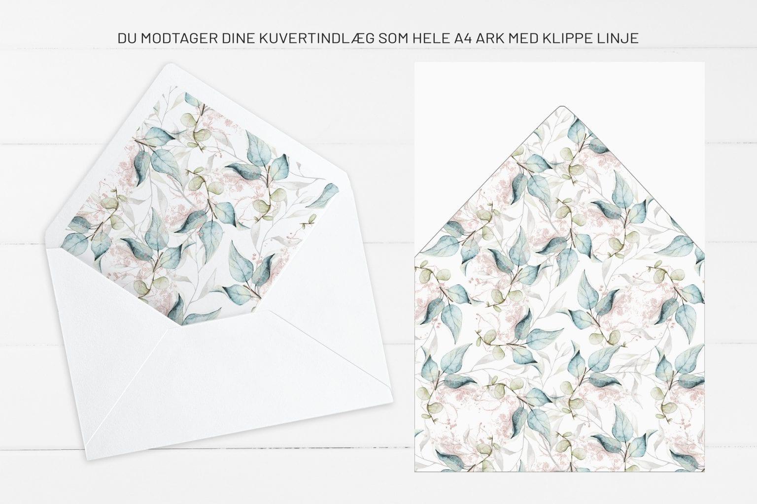 Soft Sage, kuvertindlæg, bryllup