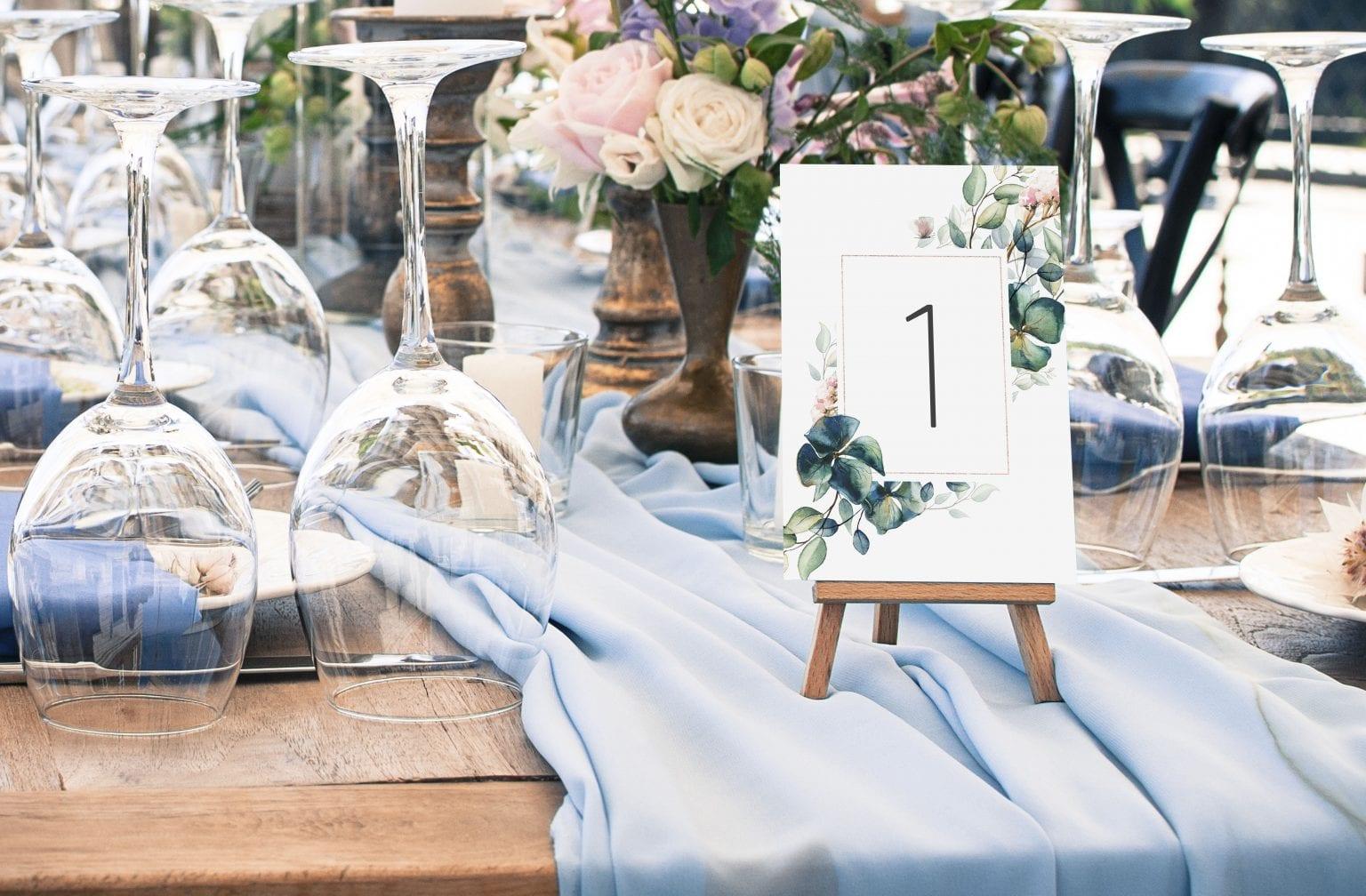 Teal Vibrant, bordnummer, bryllup