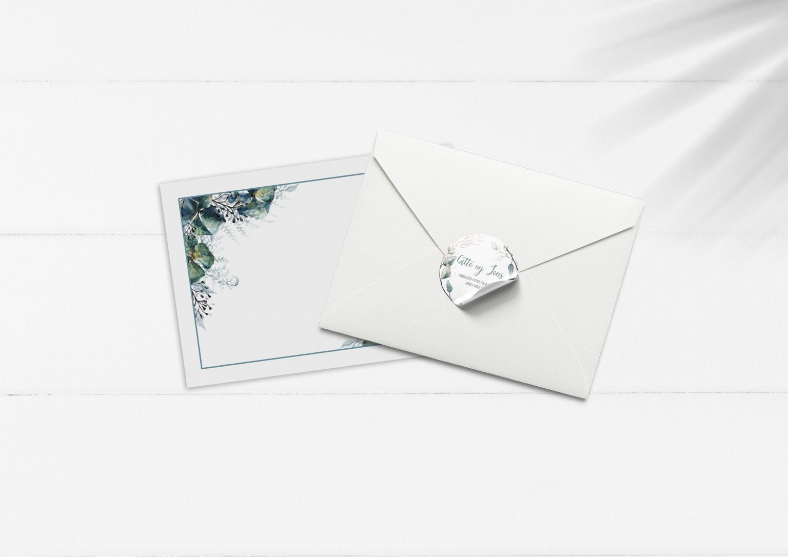 Teal Vibrant, kuvert og stickers, bryllup