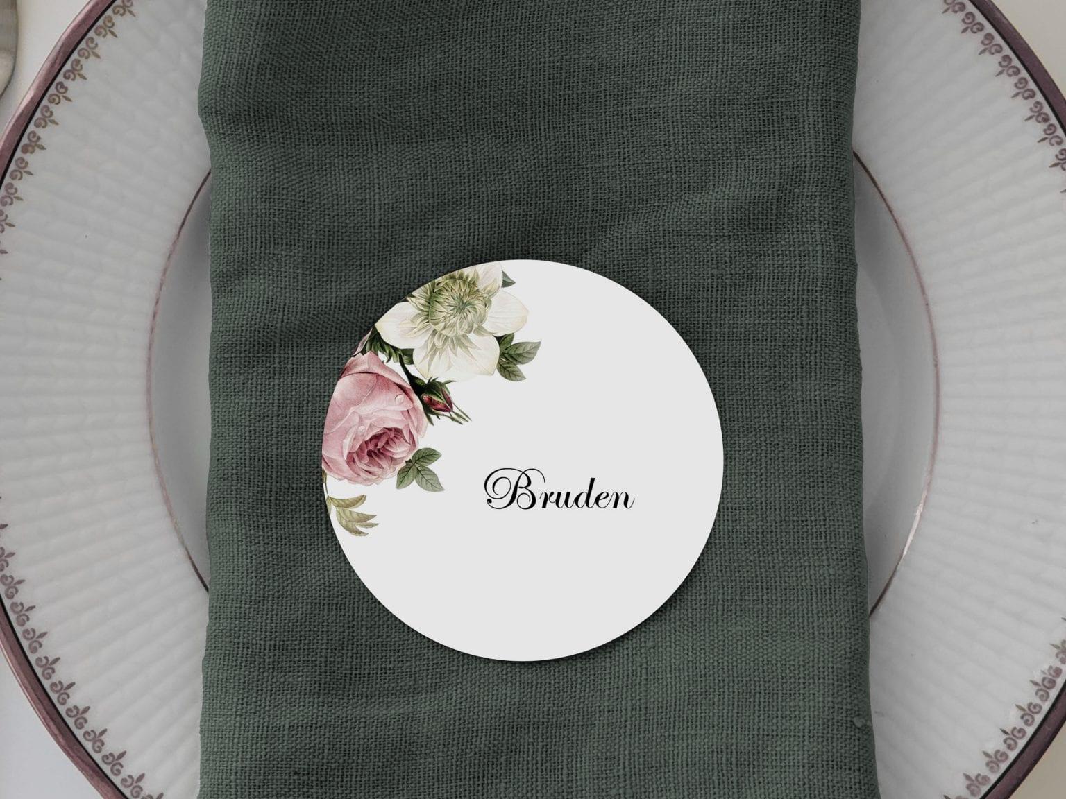 Vintage Floral, runde bordkort, bryllup