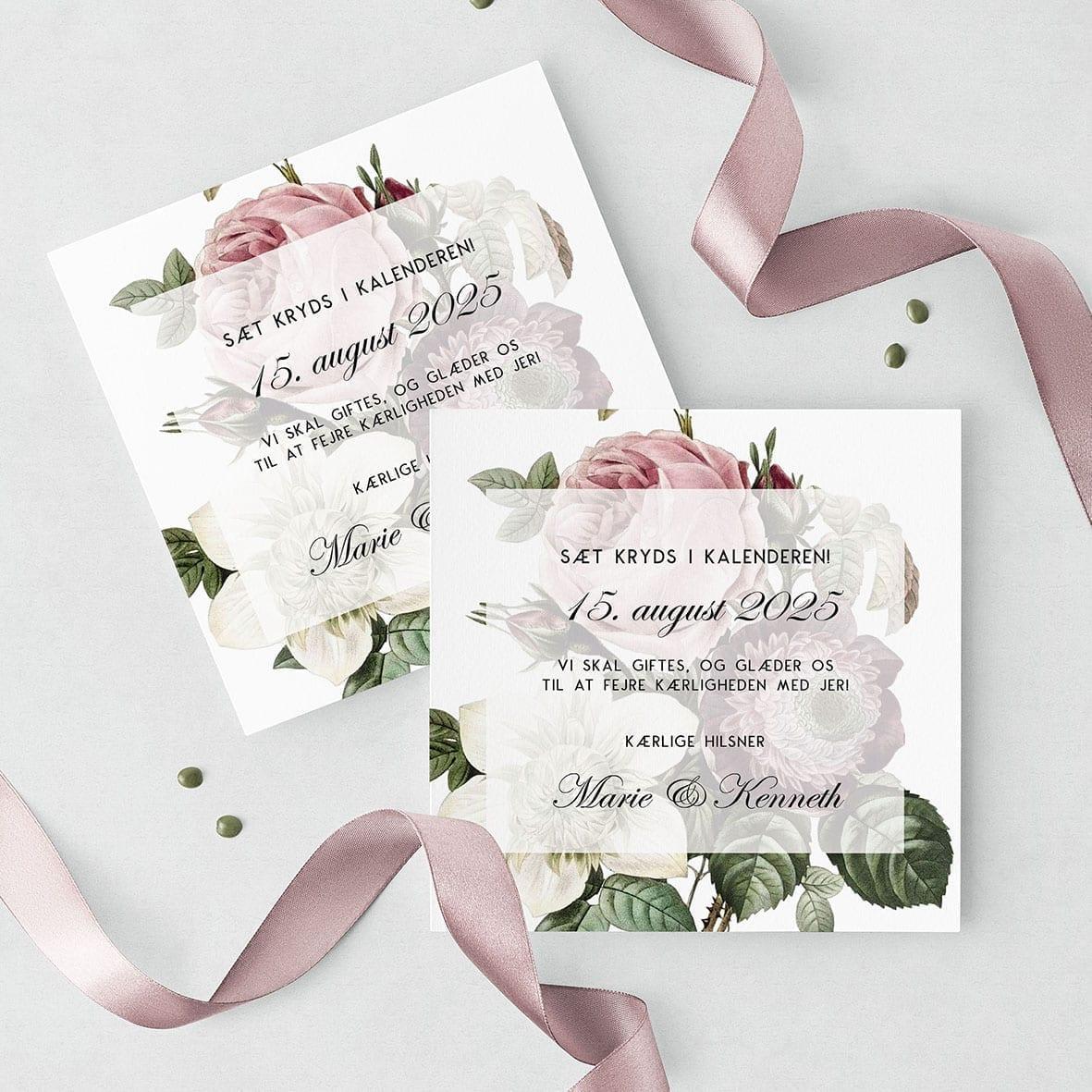 Save The Date Kort Vintage Floral