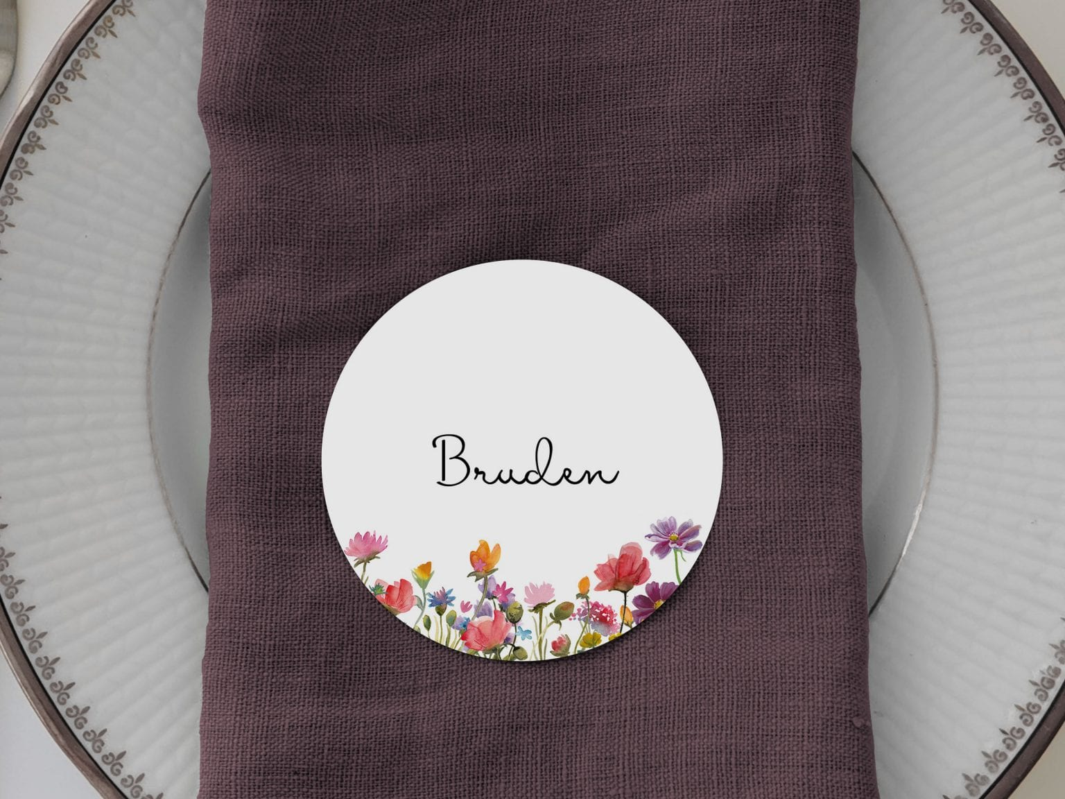 Wild Flowers, runde bordkort, bryllup