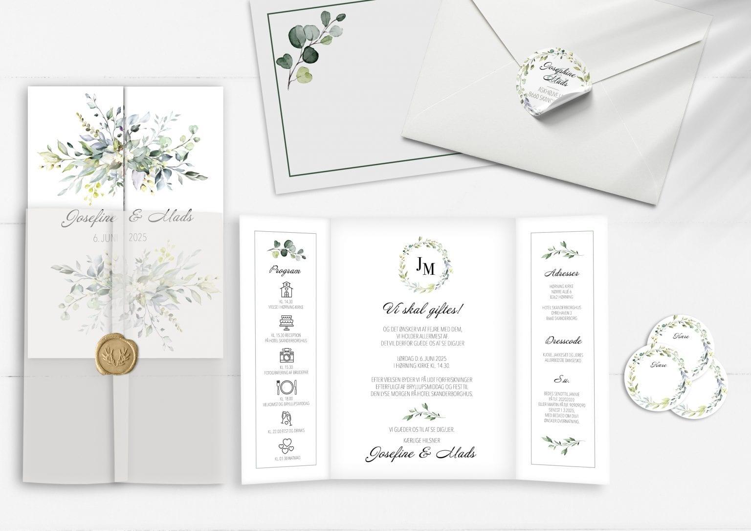 Dusty green portefals invitation med eucalyptus